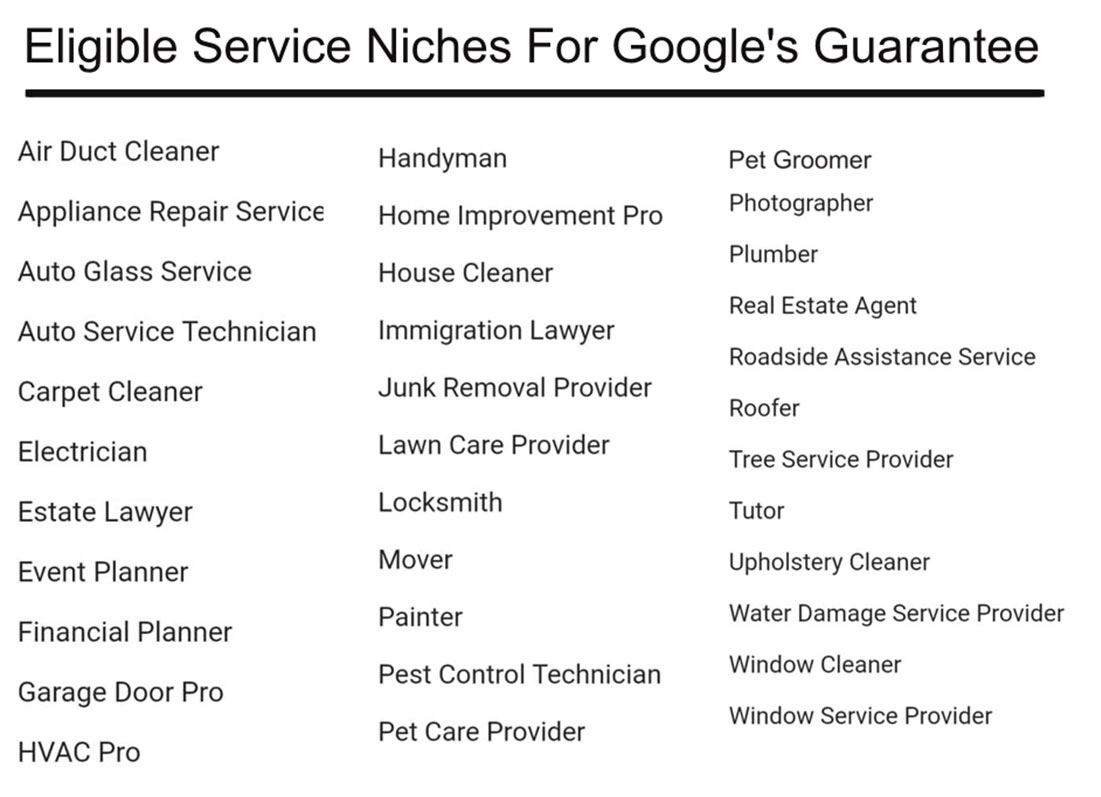 Eligible Service Niches For Google's Guarantee