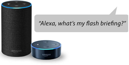 "Simply ask ""Alexa, what's the news?"" or ""Alexa, play my Flash Briefings"""