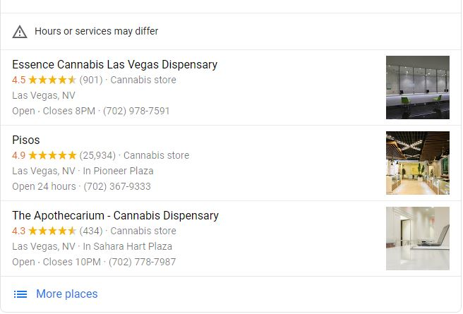 Vegas Dispensaries Need To Update Their GMB's